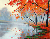 Lake Oil painting trees painting Original oil landscape Art by Listed Artist