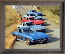 Chevy Corvettes in a Row Transportation Vintage Car Wall Barnwood Framed Picture