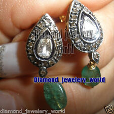 Studded Silver Victorian Earring Jewelry 1.58ct Rose Antique Cut Diamond Emerald