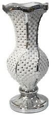 60cm Tall Floor Standing Flower Vase With Mosaic Tiled Swirl Mirrored White