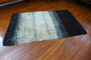 Ombre Striped Rya Rug 62 x 36 Black Gray and White Vintage Mid Century Modern