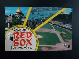 """VINTAGE POSTCARD VIEW OF """"HOME OF THE RED SOX"""", BOSTON, MA, 1950'S"""