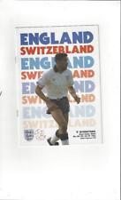 England v Switzerland 'B' International Programme + Match Ticket 1991 @ Walsall