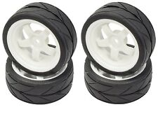 Apex RC Products 1/10 On-Road White 5 Spoke Wheels / V Tread Tires HPI #5015