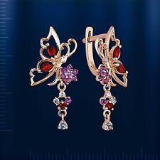 Russische Rose Gold 585 Ohrringe mit Edelsteine. Schmetterling. Niedlich!!