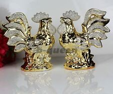 Italian Gold Colour Ceramic Pair Of Cock Ornament For Home Decor Gift