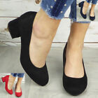 Court Shoes Faux Suede Casual Work New Mid Block Heel Office Party Heels Size