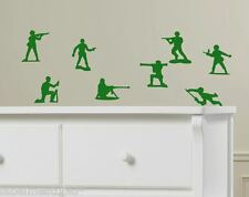 Set of 8  Little Green Army Men Toy Soldiers Toy Story Boys Wall or Car Stickers