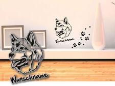 Wandtattoo Alaskan Malamute Schlittenhund H009 Wunschtext Hundetatze