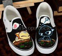 Womens Fashion Round Toe Casual Cartoon Sneakers Low Top Slip On Canvas Shoes 25