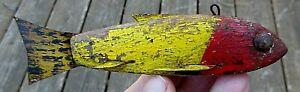 VINTAGE 1940s UNKNOWN MAKER MINNESOTA OLD WARRIOR FISH DECOY