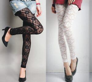 Women`s Floral Pattern Lace Black / White Sexy Leggings S-XXL (Au size 8-20)