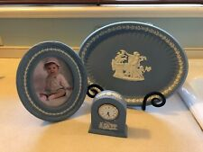 3 pc SET LOT Wedgwood Blue Jasperware Oval Trinket Tray Clock & Oval Frame