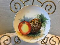 """Hand Painted Porcelain Ceramic 6"""" Plate Fruit Pineappe Apple Signed Hitomi Japan"""