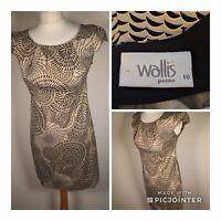 Wallis Petite Cotton Dress Size 10 Petite Gold Black Abstract