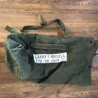 VINTAGE MILITARY US ARMY VIETNAM DUFFEL BAG CANVAS STRAP POCKET ID'd