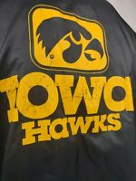 Vintage 80s 90s Bike  Iowa Hawks Snap Button Black Distressed Jacket USA Size XL