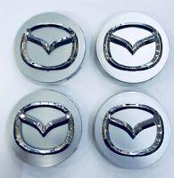 *NEW* 4pcs 56mm MAZDA Silver Wheel Logo Emblem Badge Hub Caps Rim Caps