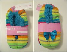 NEW TRUFIT Coral Fleece Sherpa Rainbow Non Skid Indoor Slippers~S 5-6