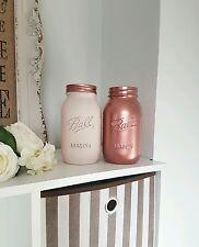 Painted Metallic Rose Gold & Strawberry Yogurt Pink Mason Jars set of  2