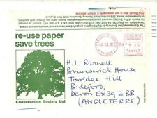 FRANCE Meter Re-Used Cover GB *SAVE TREES* Label 1981 ECONOMY RE-CYCLING CG106
