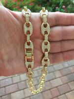 "Iced Simulated Diamond 14K GP Gold 12mm 18"" Gucci Mariner Link Chain Necklace"