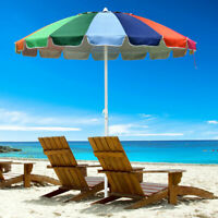 Rainbow Beach Umbrella Patio Outdoor Sunshade Umbrella 16 Rib Tilt Market 7FT