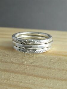 Set of Three 2mm Sterling Silver Hammered/Textured Stacking Rings - Sizes H-Z