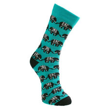 TURQUOISE ELEPHANT BAMBOO SOCKS fair trade men's one size 7 to 11 NEW!