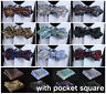 Paisley Floral Men Silk Diamond Point Tip Self Handkerchief Bow Tie ETA