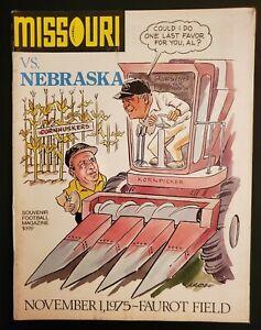 Missouri Tigers Nebraska Cornhuskers Football Program 11/1 1975 Bummeroosky Play