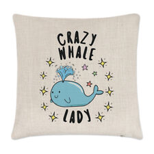 Crazy Whale Lady Stars Linen Cushion Cover Pillow - Funny Animal