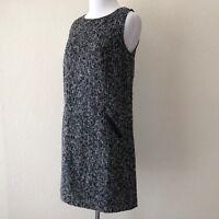LOFT Ann Taylor Sz 2 Tweed Shift Dress Faux Leather Trim Zipper Sleeveless Black