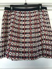 J Crew Pleated Skirt Sz 6 Women's Geometric Diamond Tile Print Pink White Silk