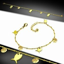 Steel Golden With Chain D'Stretch Bracelet With Charms/With Ankle Stainless