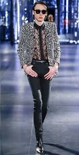 Saint Laurent Paris White Silk Leopard Print 2 Button Blazer EU48, Slimane