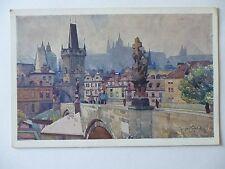 Ansichtskarte Prag Künstlerkarte Jaroslava Setelika Malostranske mostni panorama