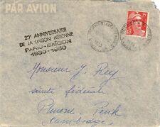LETTRE PAR AVION 20e ANNIVERSAIRE DE LA LIAISON AERIENNE PARIS SAIGON 1950