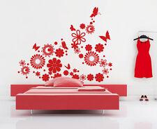 00687 Wall stickers Adesivi murali Testiera fiori e farfalle 150x120 cm letto