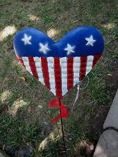 "23 1/2"" Tall Heart 4 Of July Yard Art Metal Stake Decor Summer Garden"