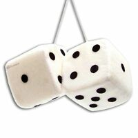 Zone Tech Pair White Hanging Mirror 2.75'' Plush Fuzzy Keychain Vintage Car Dice