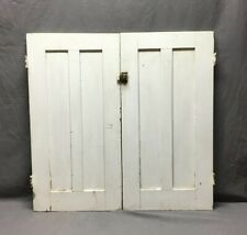 Antique Pair 2 Panel Cabinet Kitchen Bookcase Cupboard White Doors Vtg 340-20B