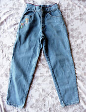 Blue Jeans vintage vita alta con ricami 46 Embroidered mom jeans made in Italy
