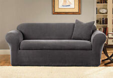 Sure Fit Stretch Metro 2-Piece - Sofa Slipcover  - Grey NEW