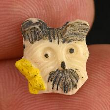"Vintage White Glass Kiddie Goofie Realistic Sewing Button Scottie Dog Bow 1/2"""