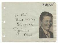 Johnnie Davis Signed Album Page Autographed Vintage Signature Actor