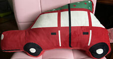 Red Car with Christmas Tree Throw Pillow