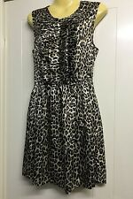 Topshop Reko NEW Size 10 Animal Print Gold & Black Retro Ruffle Dress Sleeveless