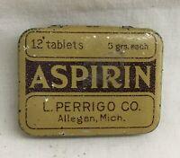 Vintage L. PERRIGO ASPIRIN Medicine Tin ALLEGAN MICHIGAN
