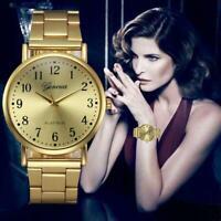 GENEVA Round Watch Women's Stainless Steel Bracelet Watch Analog Quartz Watch